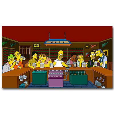 The Last Supper The Simpsons Cartoon Funny Silk Poster 12x21 inch