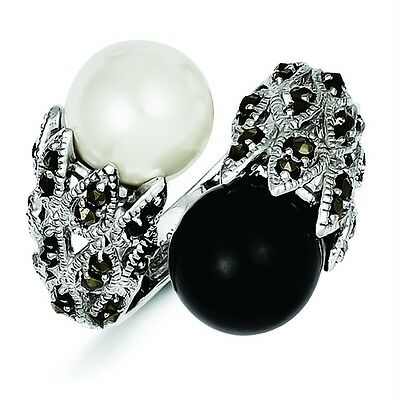 .925 Sterling Silver w/ Polished 21.3mm Marcasite Black & White Pearl Ring Sz 7