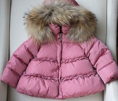 Il Gufo Baby Pink Down Padded Coat With Fur Trim 18 Months