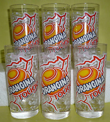 "Lot 6 Verres Orangina Droits "" Orangina Rouge "" , Vor101"