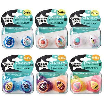 Tommee Tippee Soothers Dummy Pacifiers Any Time Closer to Nature 0-18m x2