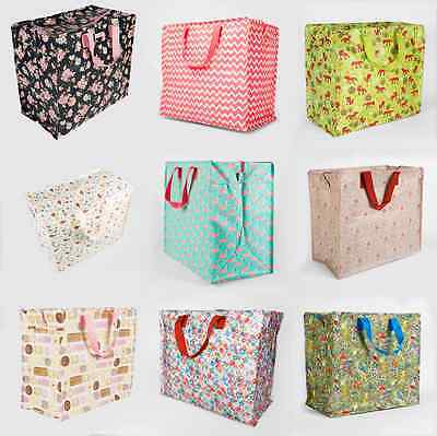 Large Vintage Floral Laundry Shopping Tote Bag Storage Reusable Bags Zipped