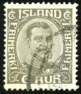 1920-22 Iceland Stamp #113 6a dark gray, Used, HR