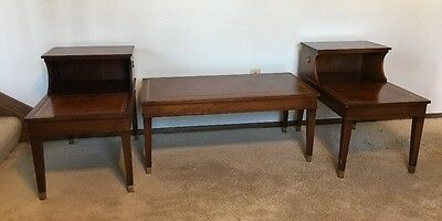 VTG Columbia Mfg. Leather Top Table Set 2x Side Tables (Step) & Coffee Table