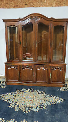French China Cabinet Breakfront White Gorgeous Set