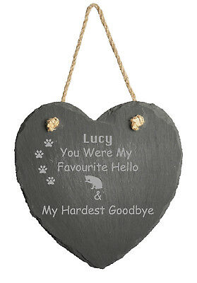 Personalised Engraved Slate Stone Heart  Pet Cat Memorial Grave Marker Plaque