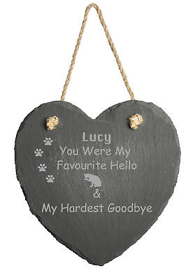 Personalised Laser Engraved Slate Pet Memorial Dog Cat Any Pet Breed or Type