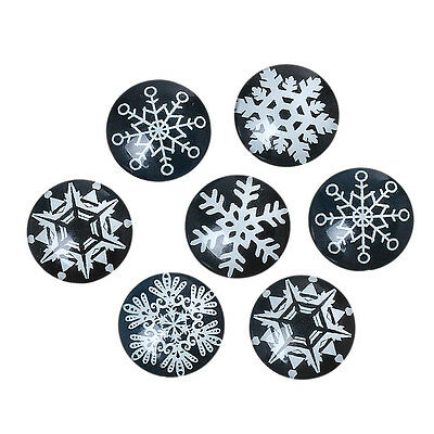 10 Snowflake Black White Mixed Design Round Glass Cabochons Jewellery 20mm (054)