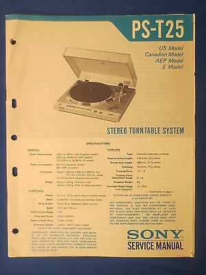 Sony Ps-T25 Turntable Service Manual Original Factory Issue The Real Thing