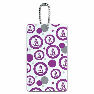 Luggage Card Suitcase Carry-On ID Tag Letter Initial Flower Purple