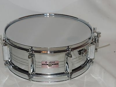 """Yamaha 5 x 14"""" Metal Snare Drum  SD 350 Made in Japan New Heads"""