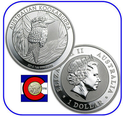2014 Australia Kookaburra 1 oz. Silver Coin - BU direct from Perth Mint roll