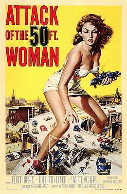 ATTACK OF THE 50 FOOT WOMAN Movie Promo POSTER Allison Hayes William  Hudson