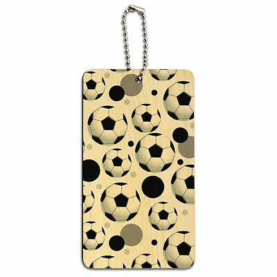 Wood Luggage Card Suitcase Carry-On ID Tag Soccer Ball Football