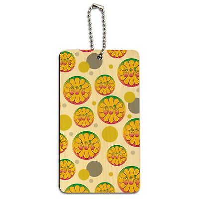 Wood Luggage Card Suitcase Carry-On ID Tag Flowers