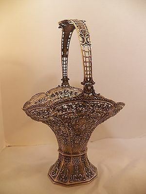 "Fabulous 800/1000 Silver Large Pierced Flower Basket, Excellent 15 1/2"" Tall"