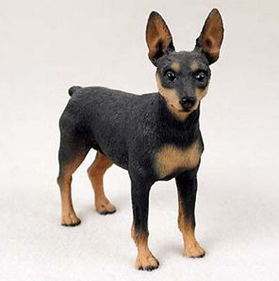 MINIATURE PINSCHER MIN PIN (BLACK TAN) DOG Figurine Statue Hand Painted Resin