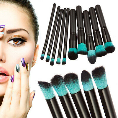 10pc Professional Makeup Brushes Foundation Blusher Face Powder Kabuki Style Set