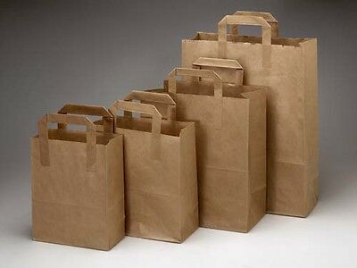Brown & White Kraft Paper Sos Food Bags With Handles For Party & Takeaway