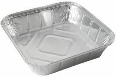 "Large Aluminium Foil Food Containers Trays 9''x9""x2'' with Lids (Heavy Duty)"