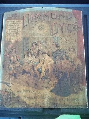 Antique Diamond Dyes Cabinet Lithograph Tin Sign ADVERTISING ORIGINAL
