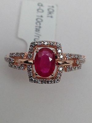 New 10K Rose Gold Natural Oval Shape Ruby and Diamond Cluster Ring Size 7