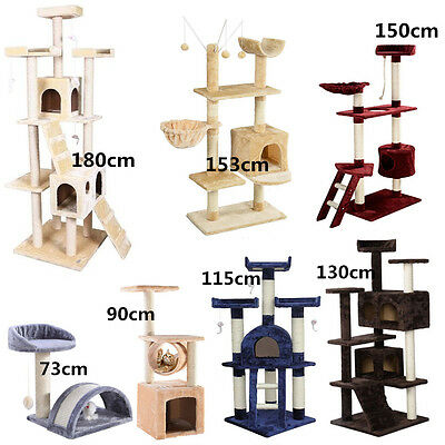 New Cat Pet Tree Activity Centre Scratcher Scratching Post Sisal With Toys Bed