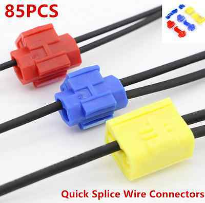 85pcs Quick Splice Solderless Car Wire and T-Tap Electrical Connector Assortment