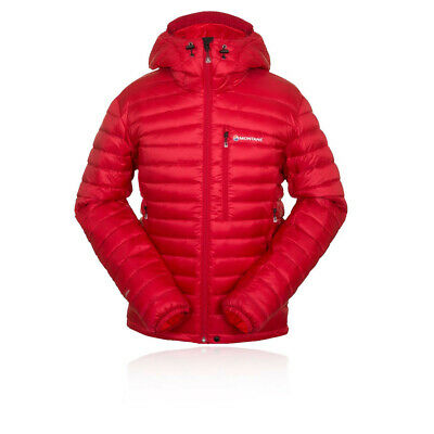 Montane Featherlite Down Hombre Rojo Resiste Agua Running Capucha Chaqueta Top