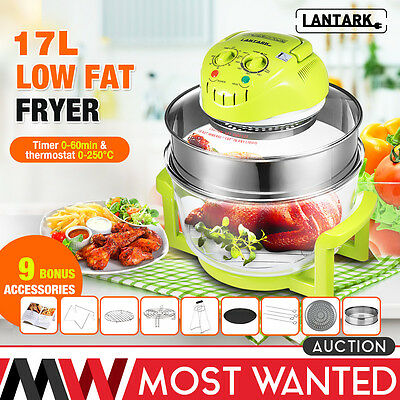 LANTARK 17L Halogen Convection Oven Cooker Low Fat Air Fryer Extender Ring Timer