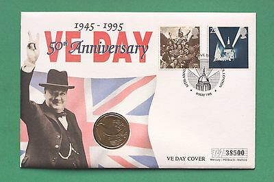 1995 - British - VE Day - Stamps & Peace £2 coin - Coin cover - SNo42698