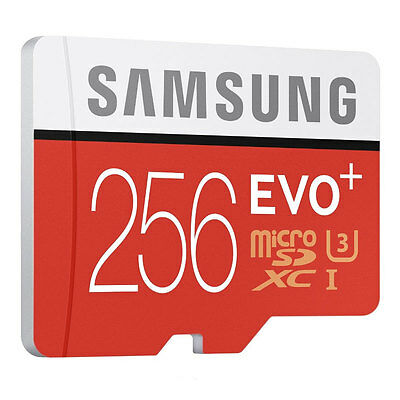 Samsung 256GB EVO Plus Micro SDXC TF UHS-I U3 Class 10 95MBs with Adapter New Uk