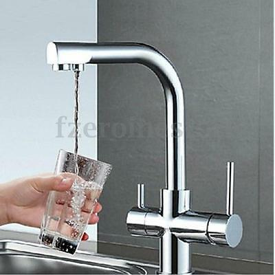 3 Way Deluxe Pure Water Double Handle Kitchen Mixer Sink Tap Spout Filter Faucet