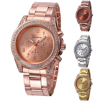 Women Lady Diamond Watch Stainless Steel Quartz Analog Wrist Watches
