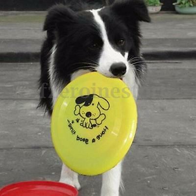 "8"" Plastic Pet Dog Puppy Frisbee Throw Fetch Toy Disc Training Catch Jumping"
