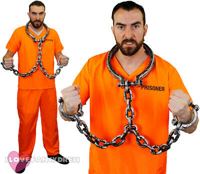 Prisoner Costume Top Trousers And Shackles Convict Halloween Fancy Dress S-Xxl