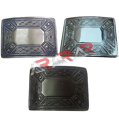 Highland Celtic Design Kilt Belt Buckle High Quality Antique / Chrome /Jet Black