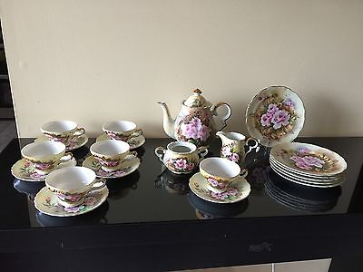 Vintage Antique Sterling China Japan 22 Pc Tea Set w/ Dessert Plates Rose Flower