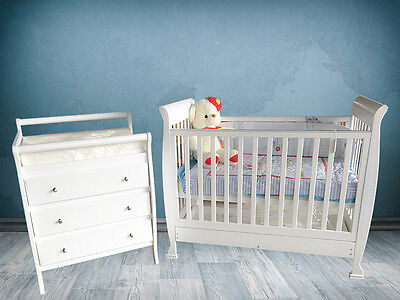 Sleigh Baby Cot Package Crib Change Table Draws Mat & Mattress Furniture Nursery