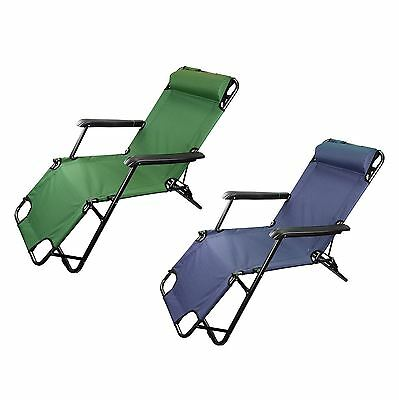 Heavy Duty Textoline Gravity Garden Sun Lounger Recliner Adjustable Deck Chair