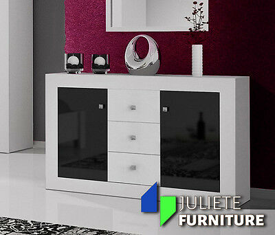 Modern Sideboard_Chest of drawers / WHITE / BLACK HIGH GLOSS - Agnes 8___HQ !!