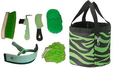 LIME GREEN ZEBRA Grooming Kit Tote with GREEN Tools Brush NEW Horse Gift