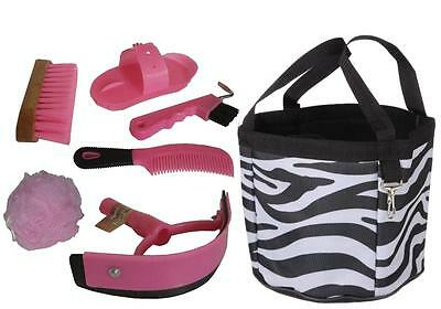 Black ZEBRA Grooming Kit Tote with PINK Tools Brush Hoof Pick, NEW Horse Gift