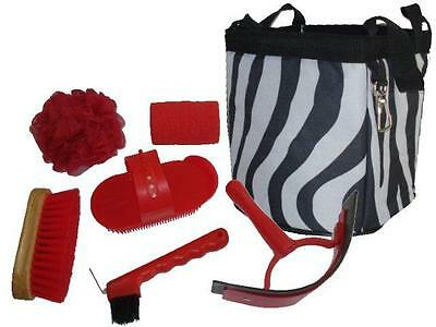 Black ZEBRA Grooming Kit Tote with RED Tools Brush Hoof Pick, NEW Horse Gift