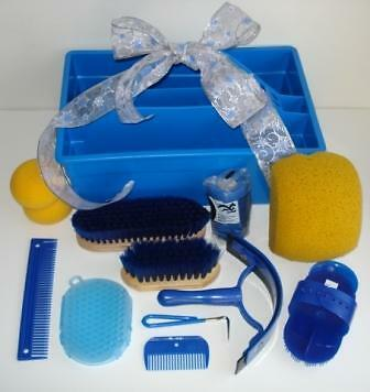 BLUE Deluxe Grooming Kit LG ROYAL BLUE Tote w/ 10 Grooming Tools NEW Horse Gift