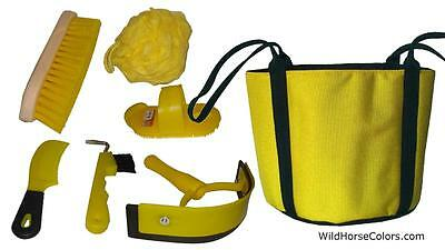 YELLOW Grooming Kit  Grooming Tote with 6 Tools Brush Hoof Pick, NEW Horse Gift