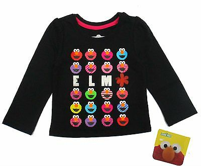 Sesame Street Elmo Girls Sparkly Black Long Sleeve T- Shirt Infant Size 12M 24M