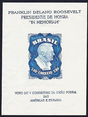 Brazil Franklin D. Roosevelt MS Printing Variety SG#MS788a SC#C76a