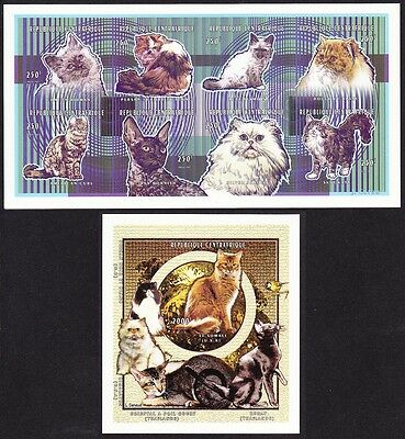 Central African Rep. Cats Sheetlet+MS imperf MI#1954B-61B+Block 603B