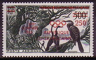 Central African Rep. Birds 1v airmail overprinted Olympic Games SG#18 MI#16